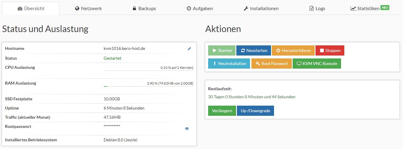 Prepaid SSD KVM Rootserver Webinterface Screenshot 1