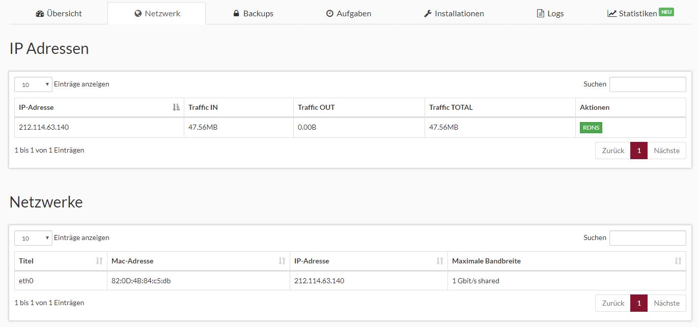 Prepaid SSD KVM Rootserver Webinterface Screenshot 2