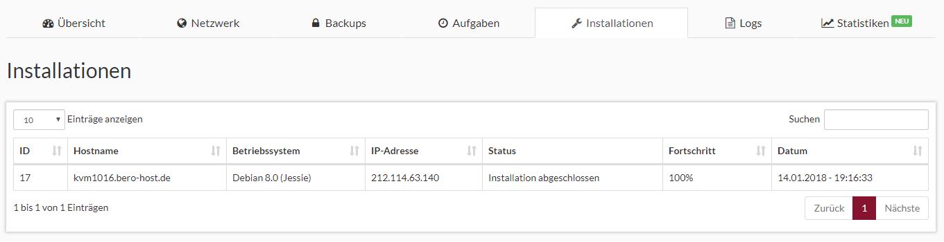 Prepaid SSD KVM Rootserver Webinterface Screenshot 5