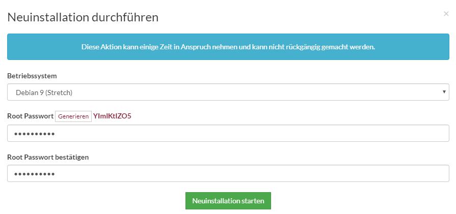 Prepaid SSD KVM Rootserver Webinterface Screenshot 8