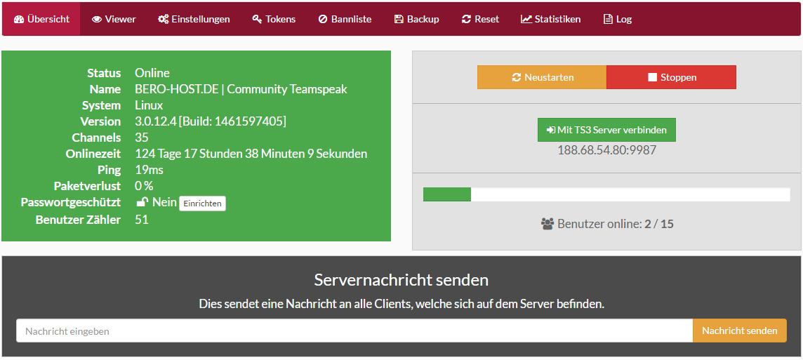 TeamSpeak3 Webinterface Details