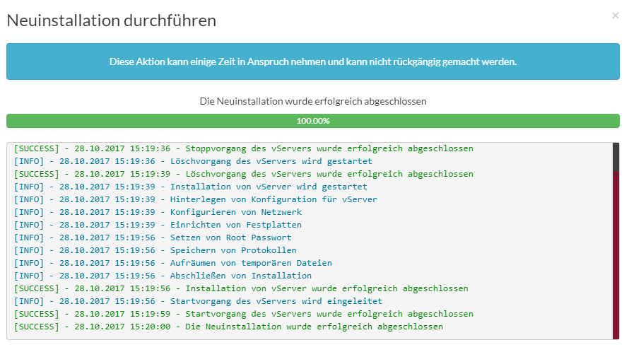 KVM Rootserver Paket Webinterface Screenshot 14